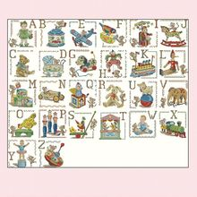 -lbp-toy doll letter abc-70-59 Cross Stitch Set DIY Kit Embroidery Needlework Craft Packages Cotton Fabric Floss