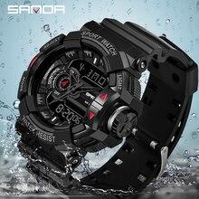 Sanda 599 militar relógio masculino marca de luxo à prova dwristwatch água esporte relógio de pulso moda quartzo relógio masculino relogio masculinoRelógios de quartzo
