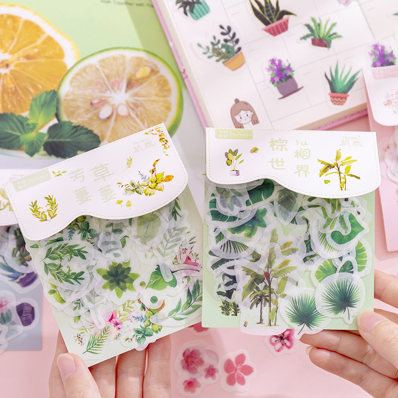 40Pcs/Pack Kawaii Palm Cactus Pattern Decoracion Diary Christmas Stickers Scrapbooking Stationery Sticker Student Supplies