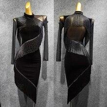 Платье для латинских танцев с длинным рукавом, бархатные платья с бахромой, платья для танго, сальсы, ча-ча, одежда для взрослых, одежда для выступлений DN4334