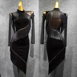 Latin Dance Dress Long Sleeve Velvet Stitching Fringe Dresses Rumba Tango Salsa Cha Cha Wear Adults Performance Clothes DN4334