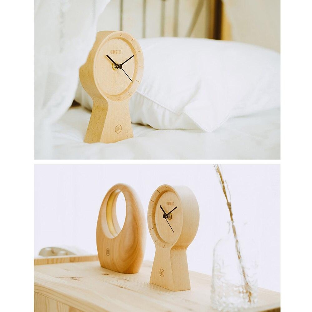 Réveil fait main bois matériau écologique horloge ensoleillée silencieux Non coutil horloge en bois pour bureau maison chambre salon - 3