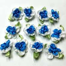 40pcs blue color ribbon flowers with leaf handmade apparel sewing appliques DIY accessories A575