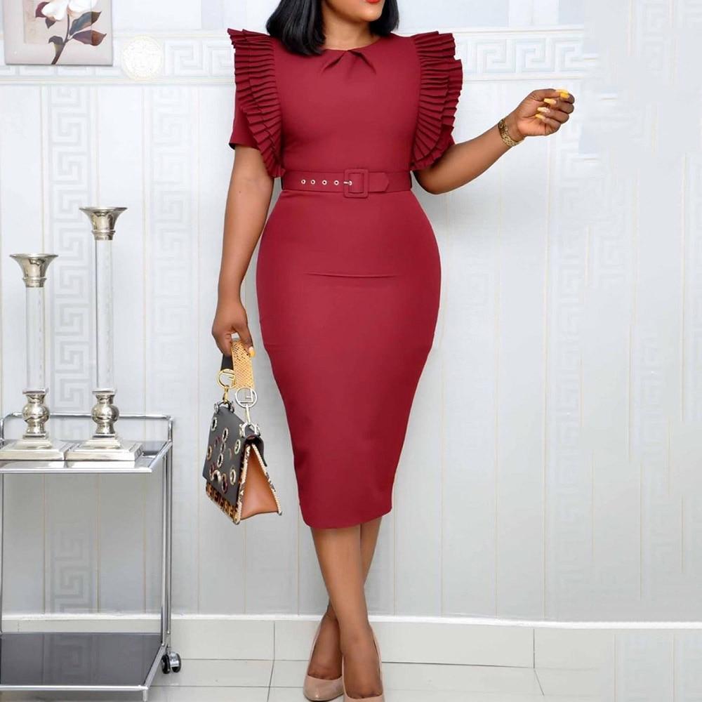 Elegant Ladies Office Dress Pleated Ruffles High Waist Belted Women Work Wear Bodycon Pencil Midi Plus Size 3XL Dresses Female