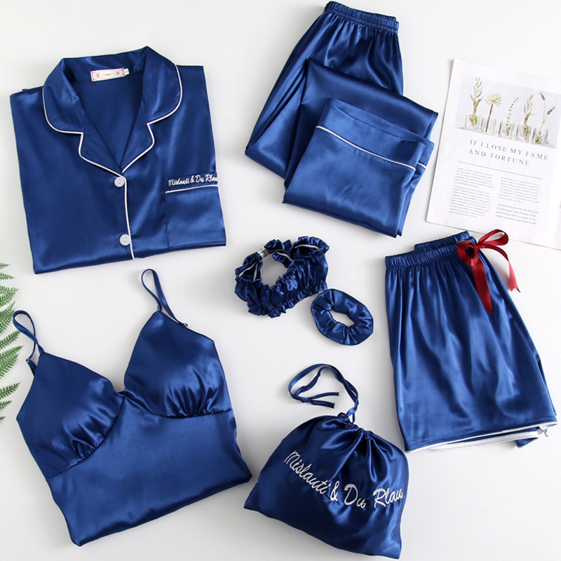 Sleepwear 7 Pieces Pajamas Set With Chest Pad Pyjama 2020 New Women Sexy Sleep Suits Soft Sweet Cute Nightwear Gift Home Clothes