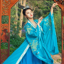 Costume traditionnel chinois ancien Costume Tang TV drame hanfu drame Costume belle photo reine princesse drame bleu jupe(China)