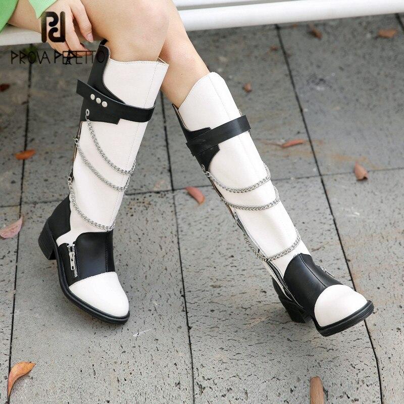 Prova perfetto feito à mão de couro genuíno coxa feminina botas altas punk cores misturadas corrente dedo do pé redondo zíper-sid sapatos casuais 2020