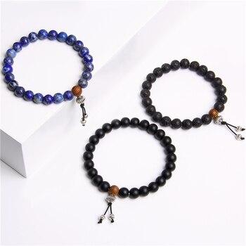 Bracelet Men Jewelry Pulseira Healing Balance Buddha Beads Reiki Prayer Yoga Wood Black Onyx Bracelets Gift Pulseras Mujer Femme 1