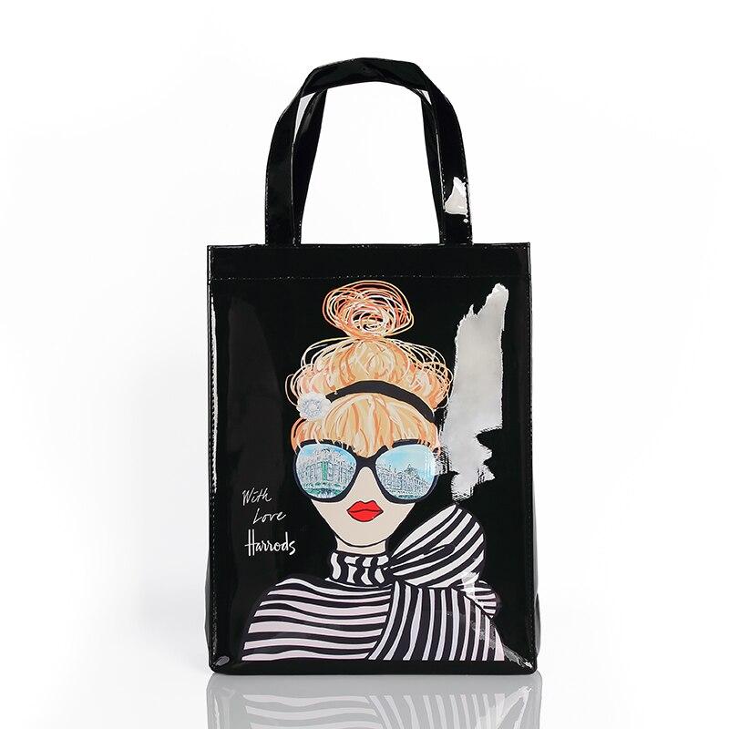Grande capacidade pvc bolsas de compras à prova dfemale água feminino ocasional tote messenger bag eco amigável londres shopper senhoras bolsa de ombro