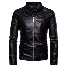 Mens leather jacket,new type of vertical collar mens locomotive coat, water-washing PU jacket outer coat