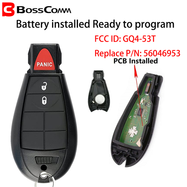 $  Bosscomm for Chrysler Dodge RAM Car Key Fob Remote 1500 2500 3500 4500 Jeep Cherokee 2013-2018 PCF7961A GQ4-53T 2+1 Button