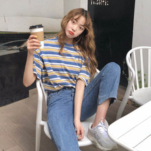 New Summer Fashion Women Casual T Shirt Short Sleeve O-Neck Preppy Style Striped Loose Tee