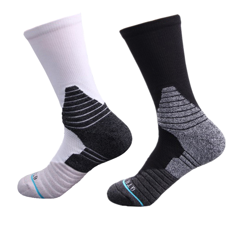 1 Pair Professional Men Basketball Socks Breathable Sweat Absorbent Arch Support Anti-friction Sports Socks Running Cycling