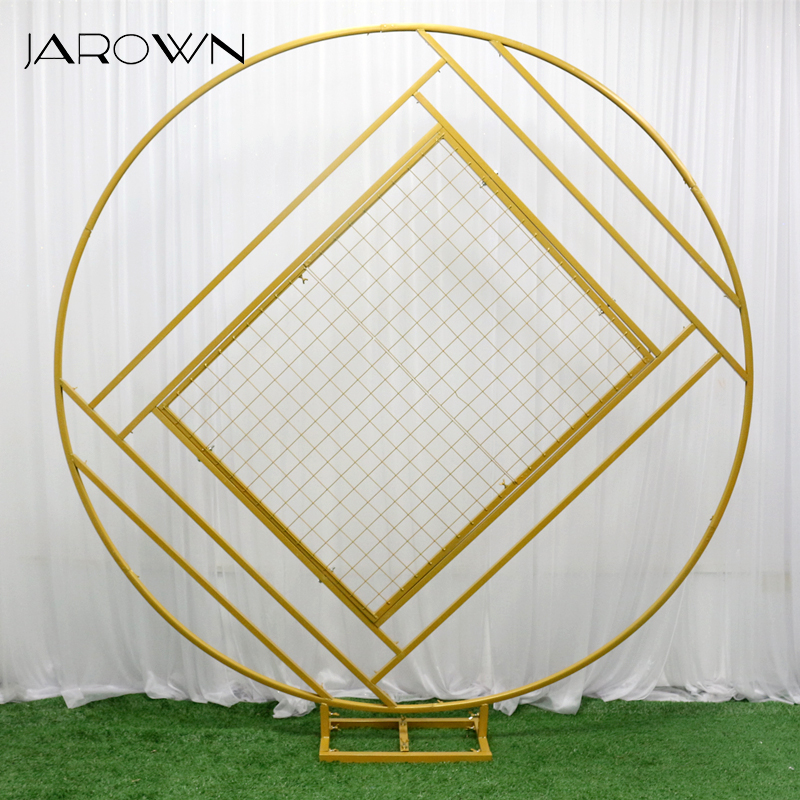 JAROWN New Wedding Arch Mariage Backdrop Wrought Iron Creative Ring Geometric Diamond Grid Frame Stand Home Party Decoration