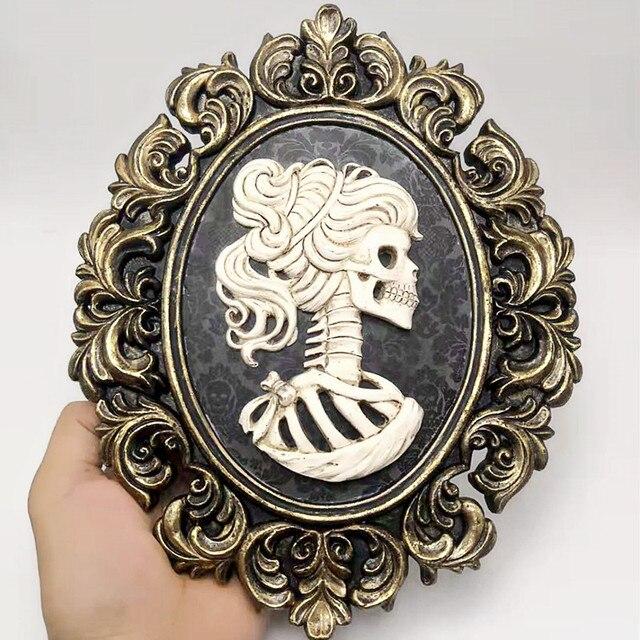 Moule en silicone de mariée pour crâne créatif, Halloween, cadre photo, décoration personnalisée, barre, bricolage concret en résine