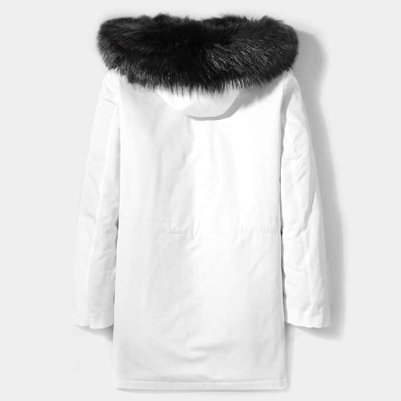 AYUNSUE 冬パーカーリアルファーコートの男性の韓国ホワイトロングジャケットアライグマの毛皮ライナーオーバーコートパーカー hombre 2019 D-29-W-LP002