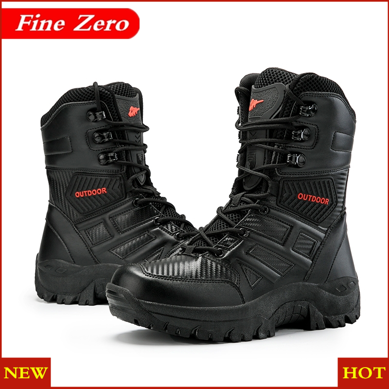 New Men Military Boots Quality Special Force Tactical Desert Combat Ankle Boats Waterproof Army Work Shoes Leather Snow Boots image