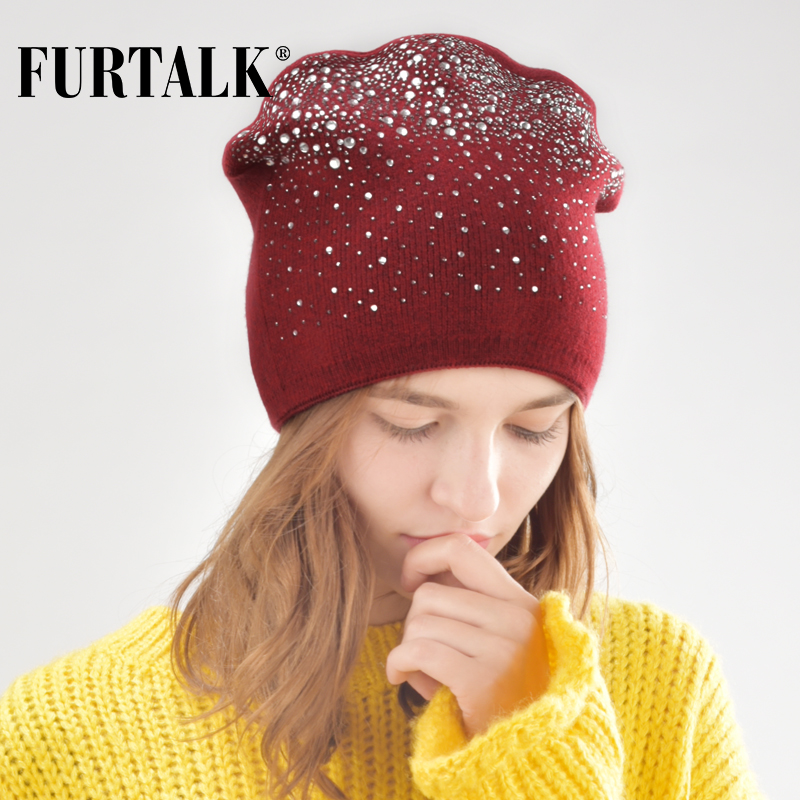 FURTALK Wool Beanie Hat For Women Autumn Winter Hats With Rhinestones Knitted Female Skullies Hats Cap For Ladies Autumn Cap