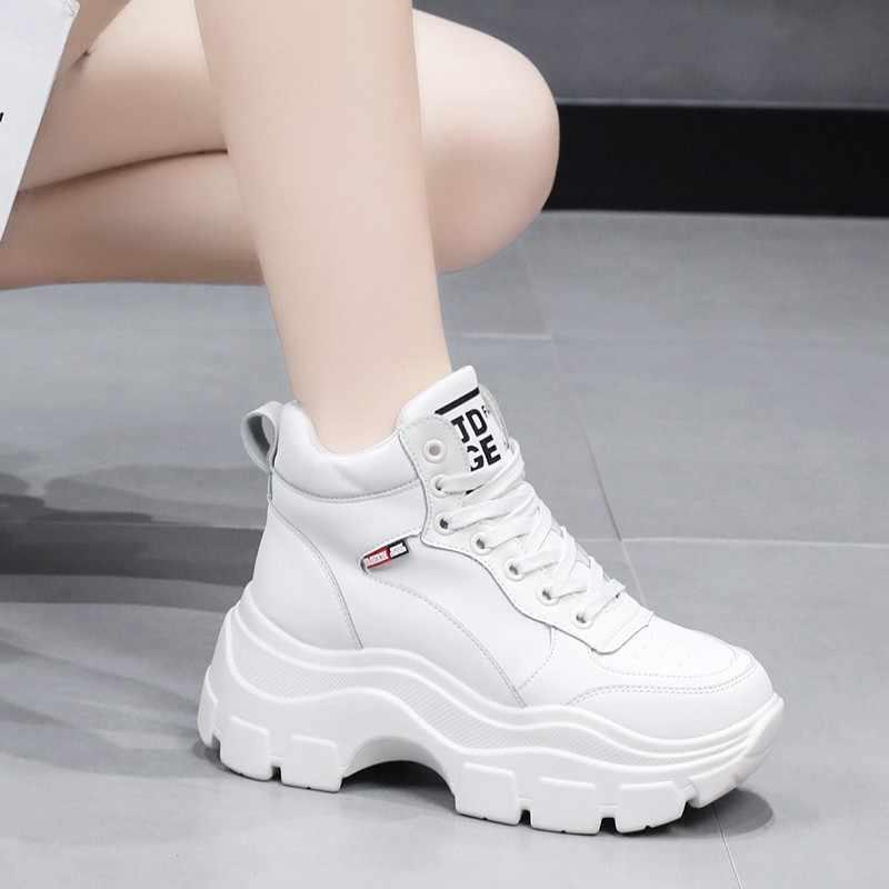 ERNESTNM แพลตฟอร์ม Super ผู้หญิงรองเท้าผ้าใบใหม่แฟชั่นผู้หญิงสีดำสีขาวรองเท้าผ้าใบ Breathable Wedges รองเท้าผู้หญิง Tenis Feminino