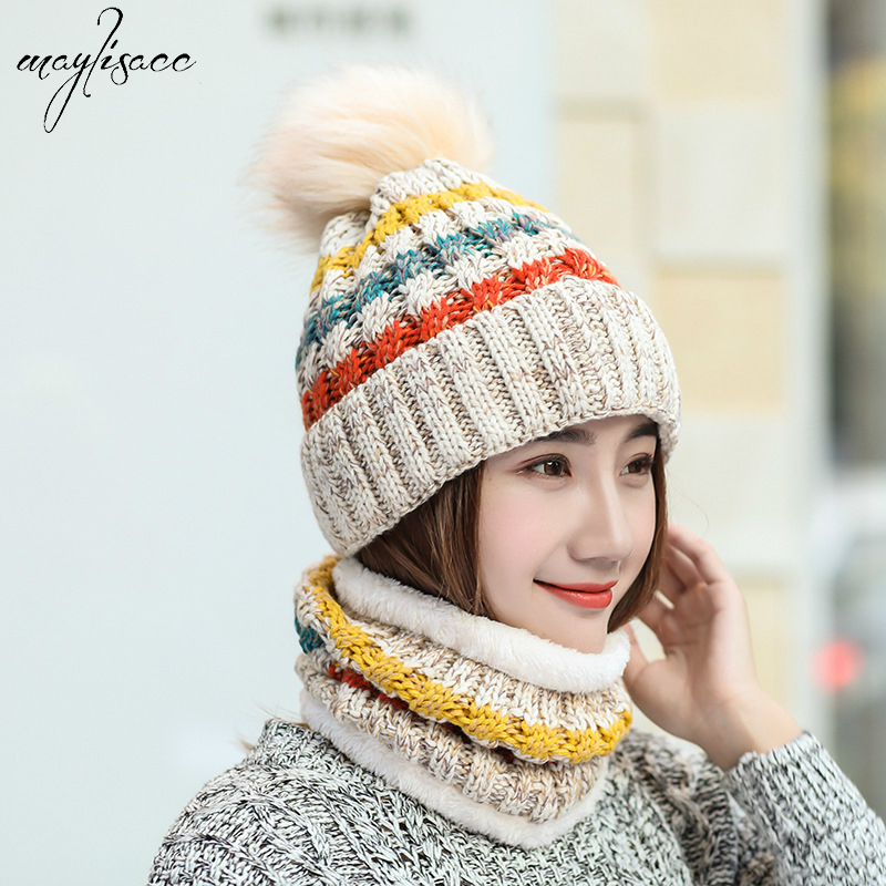 Womens Hat And Scarf Set Autumn Winter Korean Style Outdoor Bicycle Warm Windbreak Wool Plushing Thickened Knitted Hat Scarf