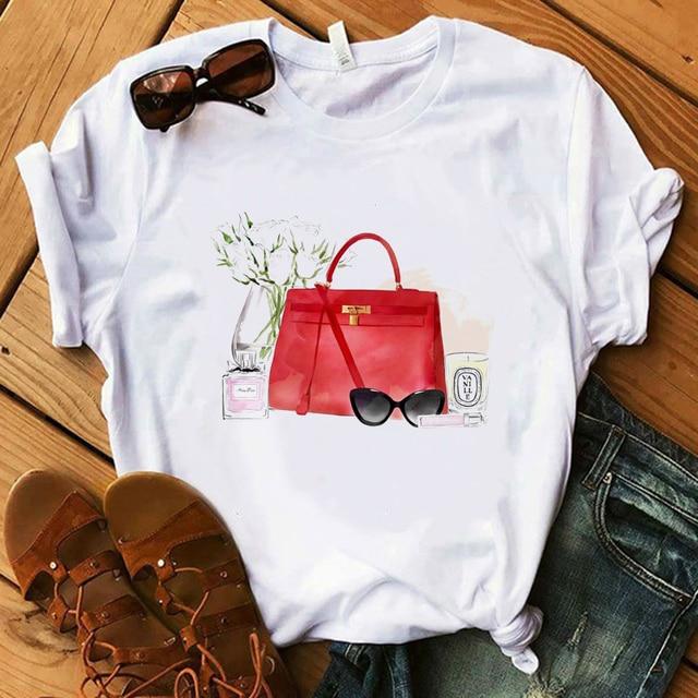 Vogue Blink Women T Shirt Make Up Lipstick Seaside T Summer  Lady Streetwear Luxury Bag T-shirts