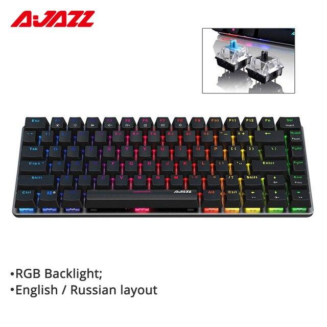 Ajazz AK33 Teclado mecánico para jugar con cable diseño ruso/Inglés RGB, 1 retroiluminación de color, 82 teclas, sin conflicto