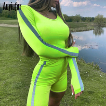 Auyiufar Neon Reflective Long Sleeve 2 Two Piece Set Women Lines Skinny Solid Females Suit O-Neck Casual Activewear Short Sets