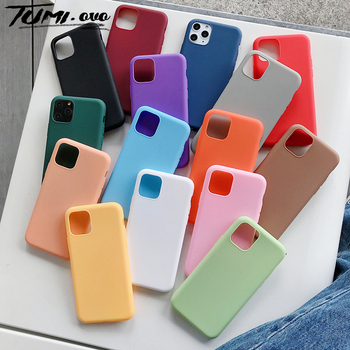 Candy Color Silicone Case For iPhone 7 8 6S 6 Plus XS Max XR X XS Soft Simple Fashion Cases For iPhone 11 Pro Max SE 2020 Cover image