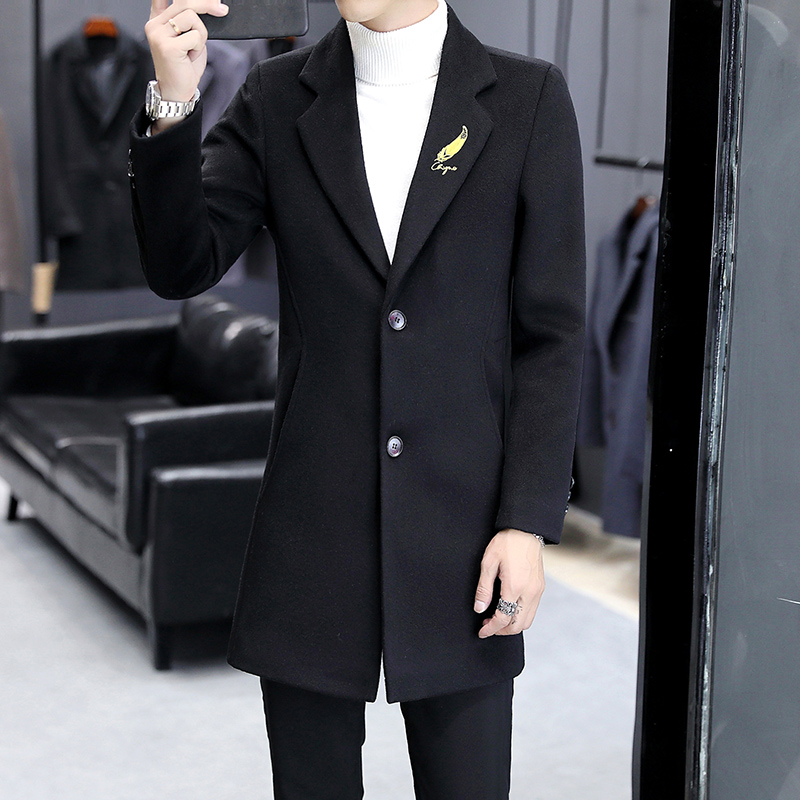 Trench Homme 2019 Winter Business Casual Trench Coat Men Korean Version of the Slim Men's Long Coat Soft Black Coat Men