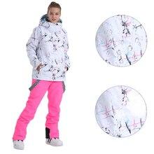 SMN лыжный костюм, Женская куртка для сноуборда, нагрудники, штаны, Зимний водонепроницаемый, дышащий, теплый, ветрозащитный, уличная одежда, сноубордический костюм