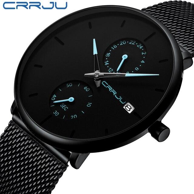 CRRJU Mode Herren Uhren Top Brand Luxus Quarzuhr Männer Beiläufige Dünne Mesh Stahl Wasserdichte Sport Uhr Relogio Masculino
