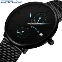 CRRJU 패션 남성 시계 브랜드 럭셔리 쿼츠 시계 남성 캐주얼 슬림 메쉬 스틸 방수 스포츠 시계 Relogio Masculino