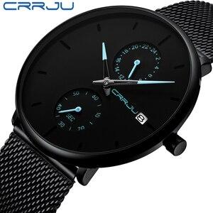 Image 1 - Crrju relojes de moda de hombre de marca superior reloj de cuarzo de lujo Casual delgado de malla de acero impermeable deportivo