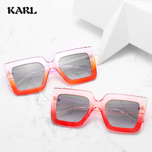New Two-tone One-piece colorful Sunglasses Women Fashion Personality Yellow Sunglasses Men Large frame Punk glasses Zonnebril