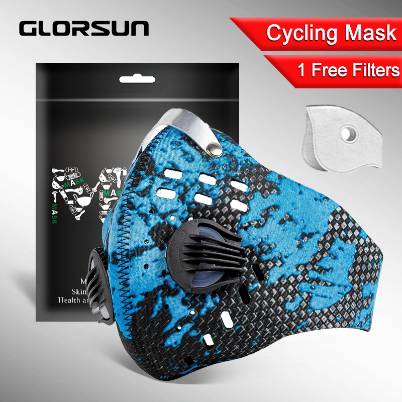 GLORSUN Pollution Mask Custom Neoprene  Anti Pm2.5 Motorcycle Bike Cycling  Airfilter Wholesale Anti Odor Smog Pollen Mask