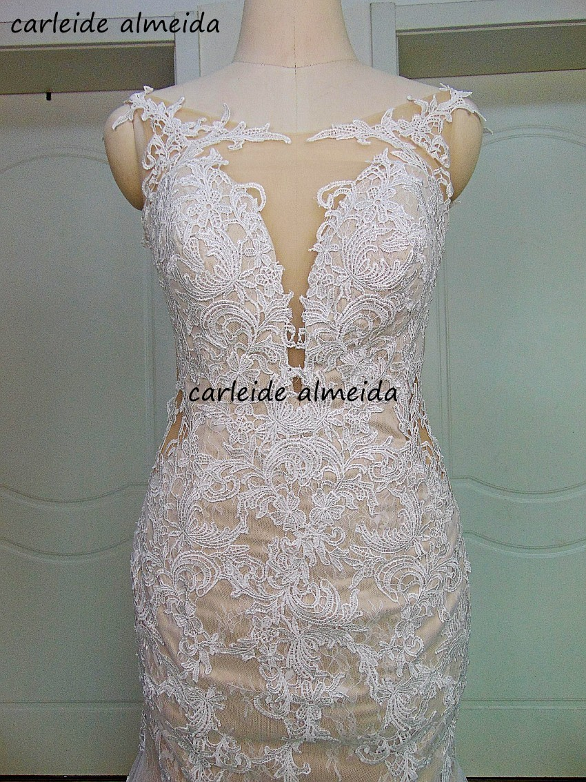 See Through Back& Side Mermaid Lace Wedding Dress 2020 Lace Appliques Chapel Train Latest Wedding Gowns Design Sexy Bride Dress
