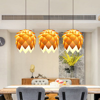 Nordic creative original wooden chandelier personality restaurant dining table lamp study wood pine cone chip chandelier
