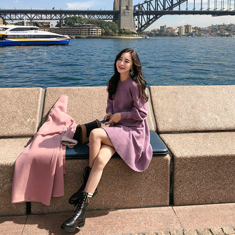 חדש אביב קוריאה שמלת נשים סריגה Oversize סתיו Midi שמלת שרוול פנס אופנה סוודר שמלות