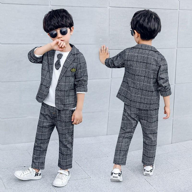 Elegant Children Wedding Suit for Boy 2/3 Pcs Blazer Set Classic Plaid Gentleman Kids Blazers Baby Boys Suits 2 3 4 5 6 7 8 T