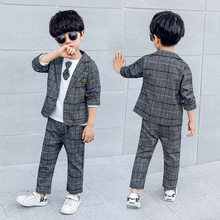 Elegant Children Wedding Suit for Boy 2/3 Pcs Blazer Set Classic Plaid Gentleman Kids Blazers Baby Boys Suits 2 3 4 5 6 7 8 T