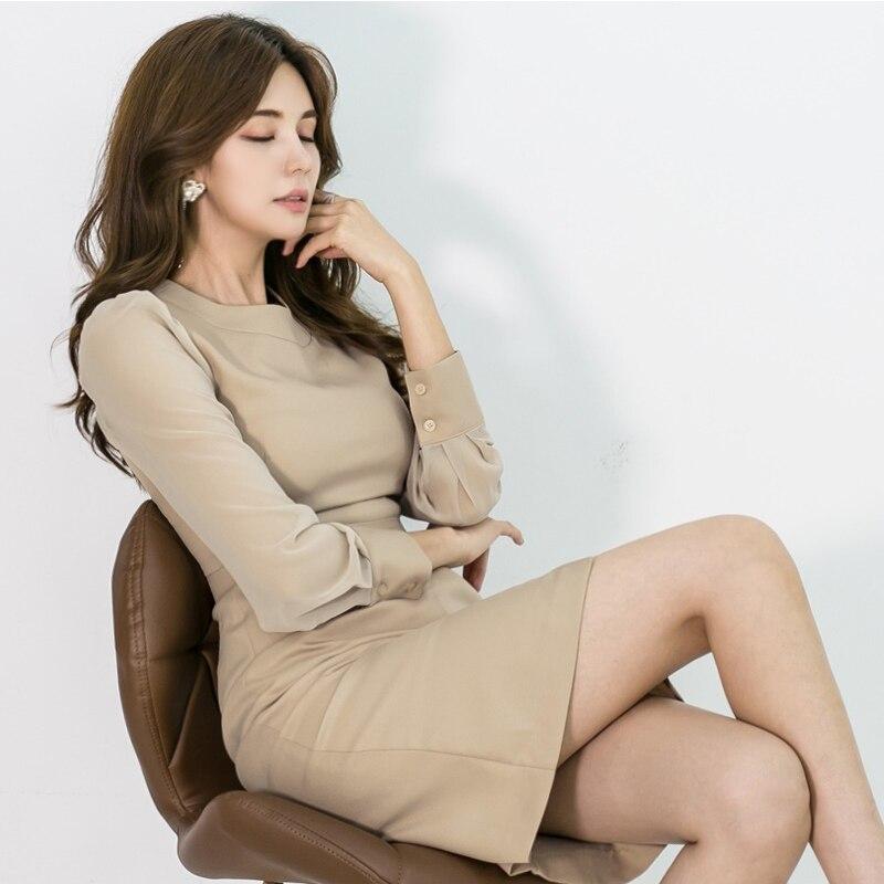 Autumn Women Dress Fashion Style Slim Waist Dress Long Sleeve Office Ladies Elegant Midi Dress Vestidos