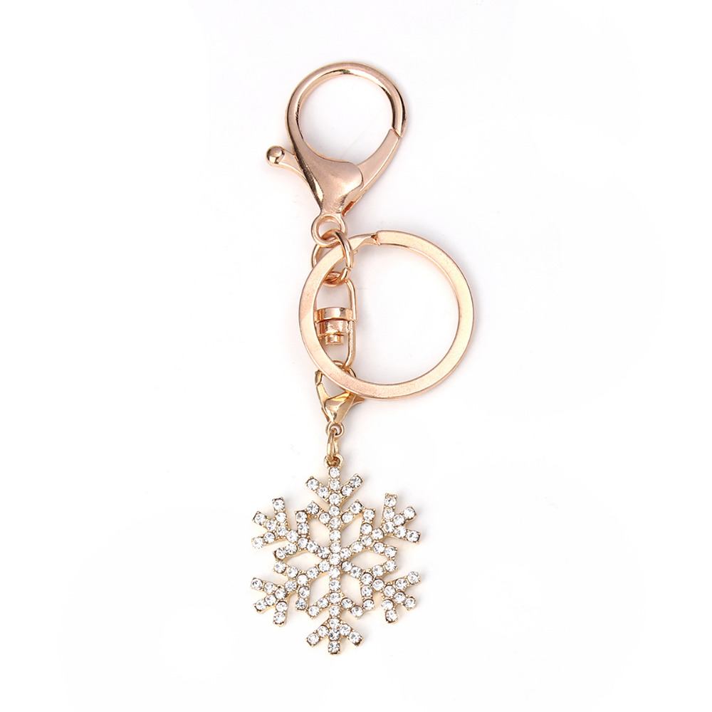Doreen Box Christmas Snowflake Keychain & Keyring Golden Clear Rhinestone Accessories 10.7cm(4 2/8