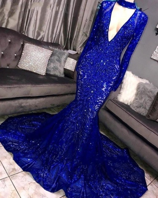 2020 New Long Sleeve Mermaid Prom Dresses Deep V Neck Sparkly Sequins Women Evening Prom Party Gown Black Girls