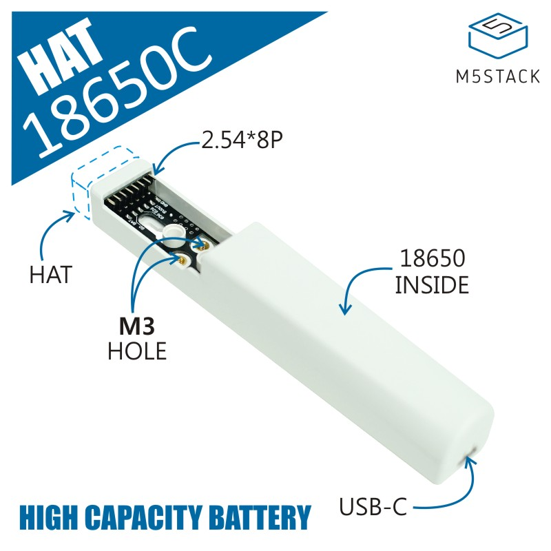 M5Stack Official 18650C HAT Rechargeable Battery Base Designed for M5SticKC 18650 Large Capacity Rechargeable Lithium Battery