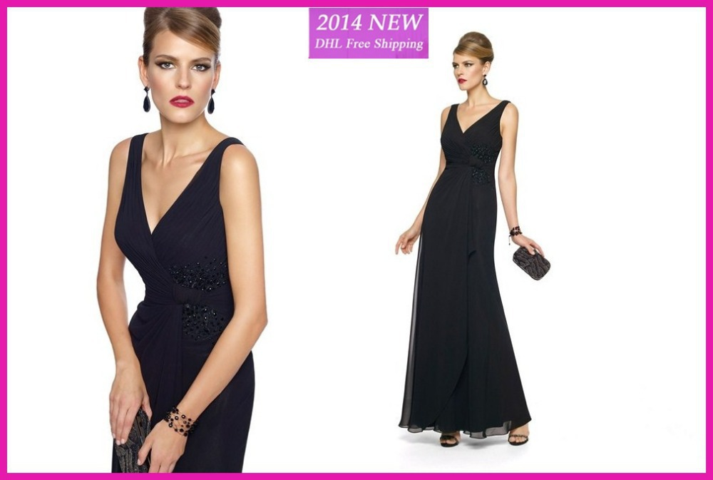 WE-26 New Arrival Black V Neck Chiffon Mother Of The Bride Dresses With Crystal Beading Ankle Length Formal Dresses Women