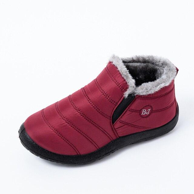Snow Boots Warm Plush Fur Ankle Winter Female Slip Waterproof Ultralight Footwear 1