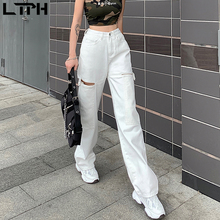 Woman Jeans Slim-Pants Casual Fashion Wild-Trousers Street-Shot Loose High-Waist Solid-Color