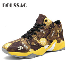 цена на BOUSSAC High Top Brand Basketball Shoes for Men Outdoor Basket Sneakers Anti-slip Male Ankle Boots Trainers Shoes Man