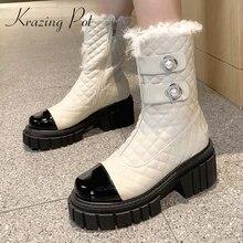 Krazing Pot 2020 new arrival okrągłe toe szpilki śniegowe buty mieszane kolor perłowa dekoracja w stylu księżniczki słodkie buty ze skórki cielęcej L07