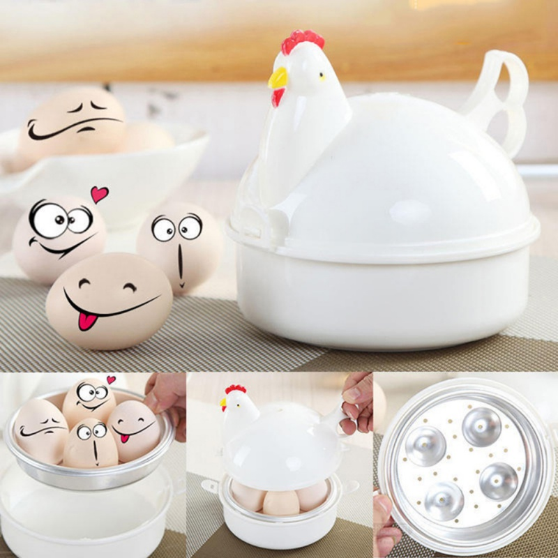 Kitchen Utensils Egg Cooker Boiler Boil Steamer Chicken-shaped Microwave Steamed Egg Oven Tools 13.3*15.7*15.7cm DD